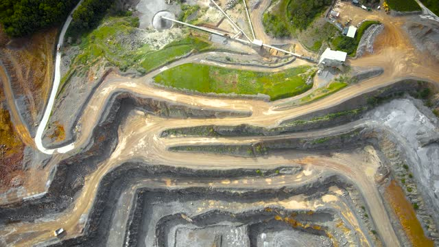 Aerial view of limestone quarry in Somerset, England