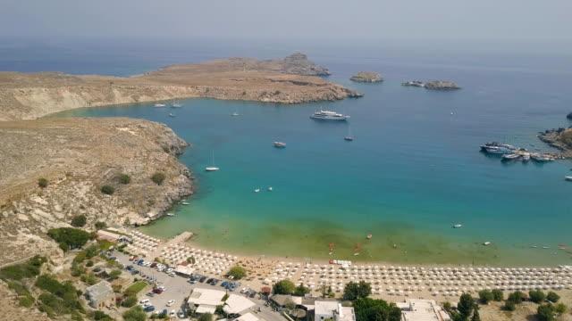Aerial view of Lindos beach video