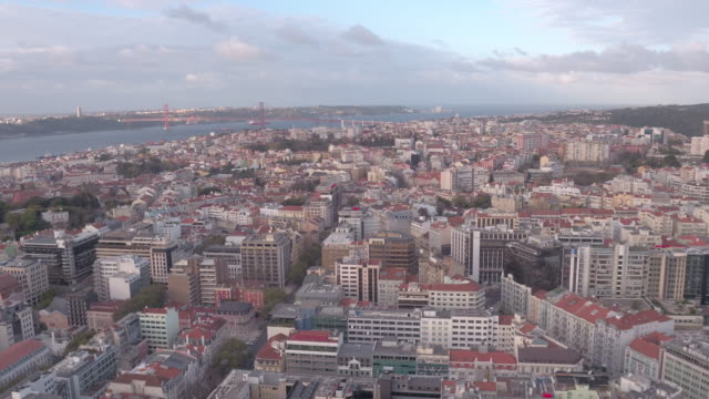 Aerial view of Lisbon Aerial view of Lisbon, Portugal. ponte 25 de abril stock videos & royalty-free footage