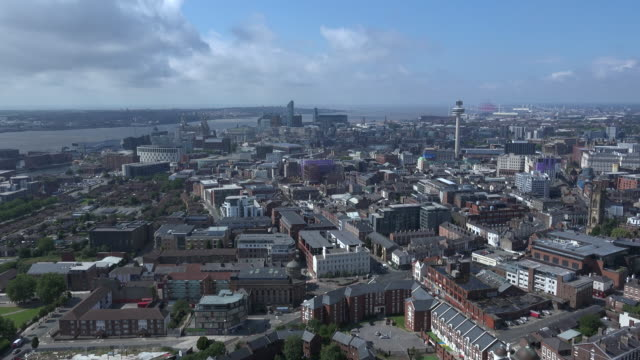 Aerial view of Liverpool city England 4K video