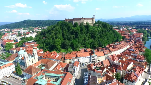 Aerial view of Ljubljana Castle video