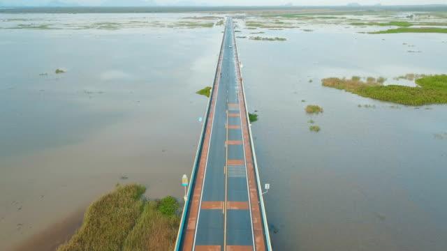 Aerial view of local road trip in Thailand, Phatthalung | Highway 3073 - Longest Sea Bridge in Thailand video