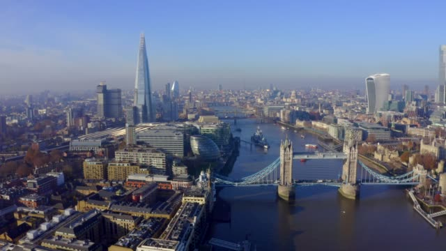 Aerial view of London above Tower Bridge. Symbol of London. Beautiful view of the Tower Bridge in London, UK. Amazing symbol of England. london architecture stock videos & royalty-free footage