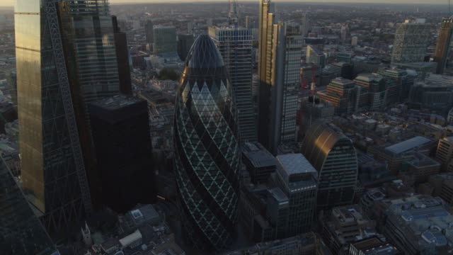 aerial view of london at sunset - london architecture stock videos & royalty-free footage