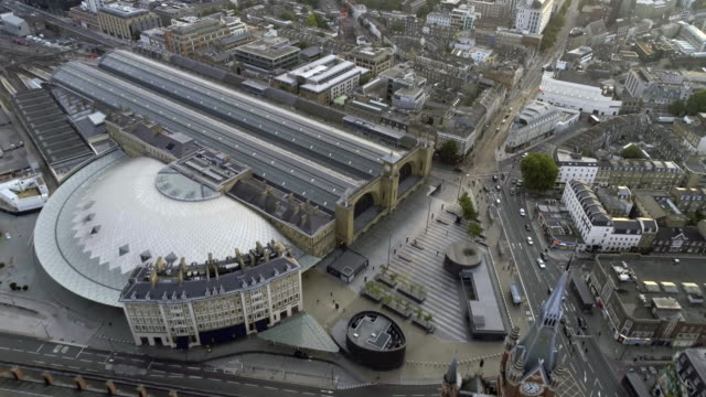 Aerial View of London Streets and Traffic by Iconic Famous Gothic and Victorian Architecture Station Buildings video