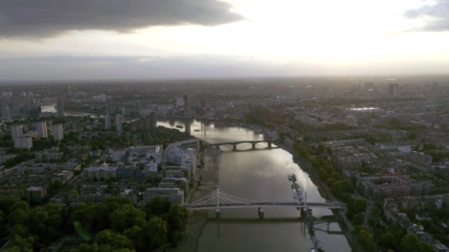 Aerial View of London Urban Cityscape and Battersea Bridge on Thames River video