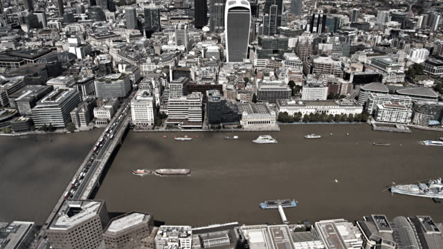 Aerial View of London's Financial District. London Bridge and International Landmarks. Office Buildings