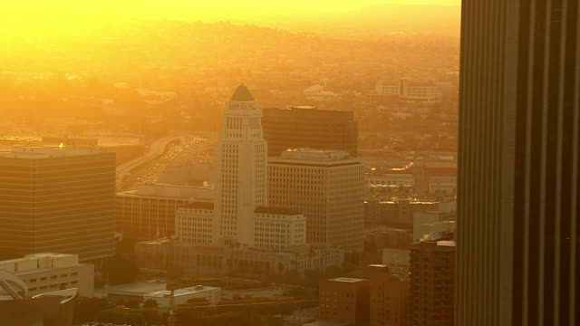 Aerial view of Los Angeles at sunrise video