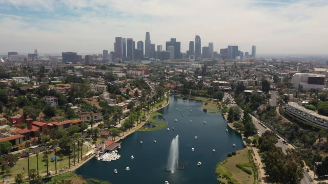 aerial view of los angeles seen from echo park in california - los angeles стоковые видео и кадры b-roll