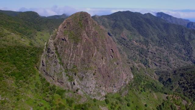 Aerial View of Los Roques - Volcano Roque de Ojila, Roque de la Zarcita, Roque de Agando - Mirador de los Roques in the Garajonay National Park on Canary Islands La Gomera - Spain video