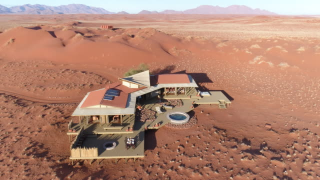 360 Aerial view of luxury accommodation at Wolwedans,Namibia video