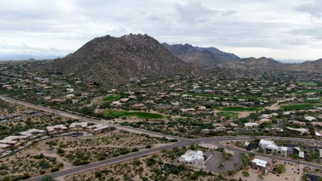 Aerial view of luxury houses in Scottsdale desert city in Arizona east of state capital Phoenix