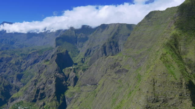 4K aerial view of Mafate mountains in La Reunion video