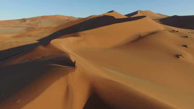 4K aerial view of male tourist walking over the sand dunes in the Namib desert inside the Namib-Naukluft National Park video