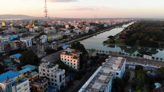 aerial view of mandalay, at sunset, myanmar - myanmar video stock e b–roll