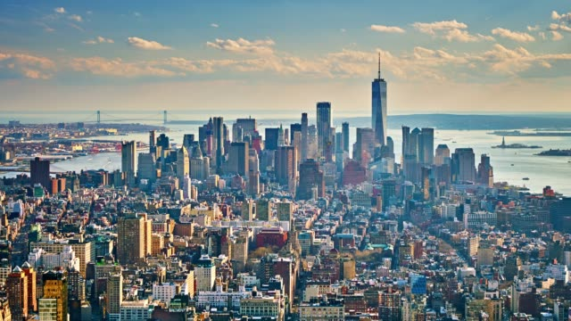aerial view of manhattan business downtown - new york architecture stock videos & royalty-free footage