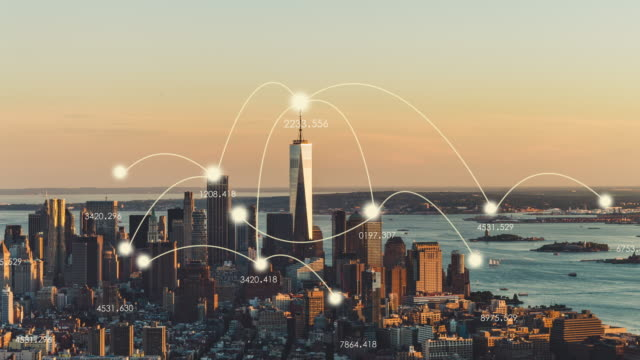 T/L WS ZO Aerial View of Manhattan City Network Technology / NYC