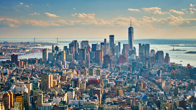Aerial view of Manhattan Financial District. Day. Freedom Tower. Time Lapse. Business Downtown. Broadway.