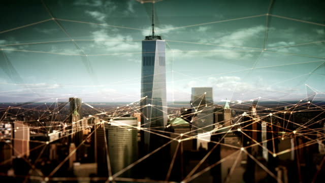 Video Aerial view of Manhattan Financial District with connections. Technology-Futuristic.