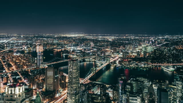 T/L ZO Aerial View of Manhattan Skyline at Night video