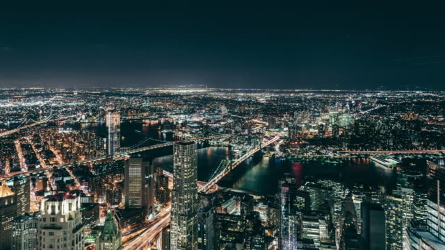 T/L Aerial View of Manhattan Skyline at Night video
