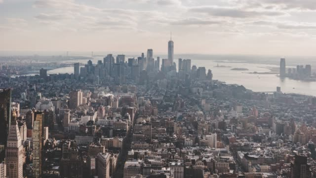 T/L Aerial View of Manhattan Skyline in Sunlight / NYC video