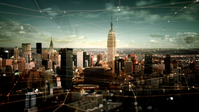 aerial view of manhattan skyline with connections. technology-futuristic. - american architecture stock videos & royalty-free footage