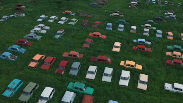 Aerial view of many old retro rusty abandoned cars in green field, vintage cars video