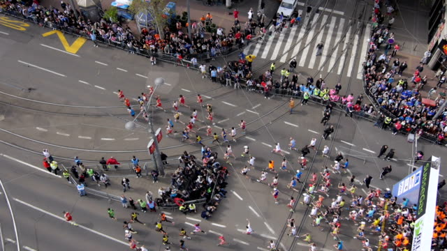 Aerial view of marathon city runners video