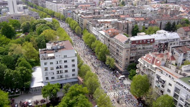 Aerial view of marathon city runners video