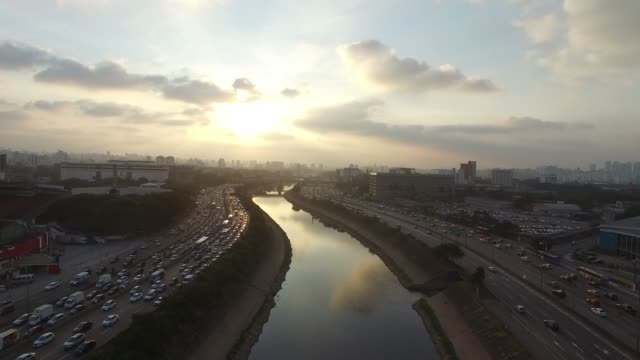 Aerial View of Marginal Tiete, Sao Paulo, Brazil video