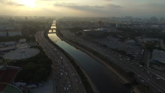 Aerial View of Marginal Tiete, Sao Paulo, Brazil Aerial View of Marginal Tiete, Sao Paulo, Brazil marginal tiete highway stock videos & royalty-free footage