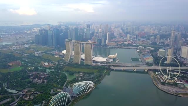 Aerial view of Marina Bay Sands revealing Singapore City Skyline
