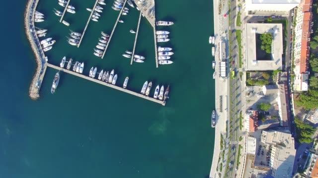 aerial view of marina in split - хорватия стоковые видео и кадры b-roll