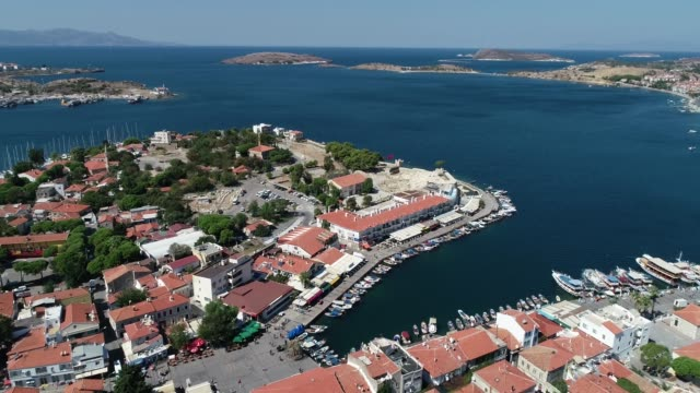 Aerial View of marina in the 'Foca' holiday village/Izmir. Izmir/Turkey 09/19/2018 Aerial View of marina in the 'Foca' holiday village/Izmir. Izmir/Turkey 09/19/2018 general view stock videos & royalty-free footage
