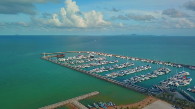 Aerial view of marina,Pattaya video