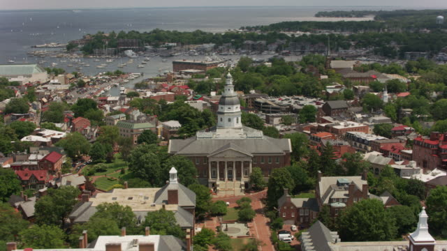 Aerial view of Maryland State House and city of Annapolis, Maryland. video