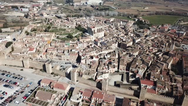 Aerial view of  medieval city Montblanc Aerial view of stone houses and defense wall of medieval city Montblanc, Spain renaissance architecture stock videos & royalty-free footage