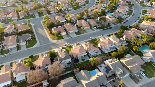 Aerial view of Menifee neighborhood, residential subdivision vila during sunset