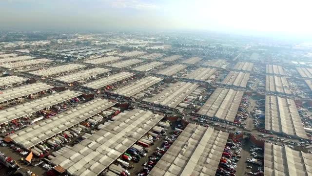 Aerial view of Mercado de Abastos in Mexico City video