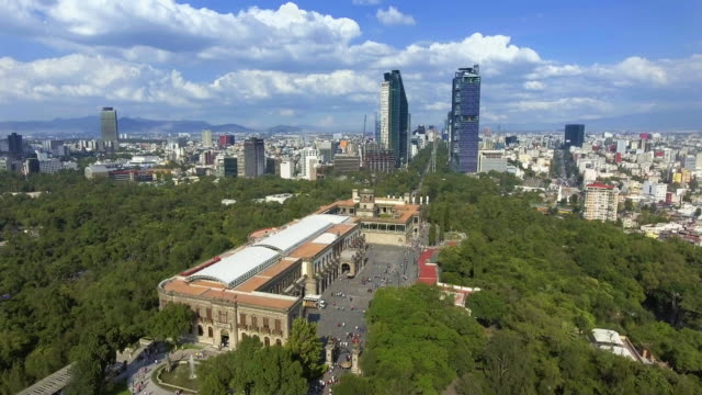 aerial view of mexico city from chapultepec park - город мехико стоковые видео и кадры b-roll