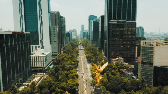 Aerial view of Mexico City. Paseo de la Reforma Aerial view of Mexico City. Paseo de la Reforma avenue stock videos & royalty-free footage