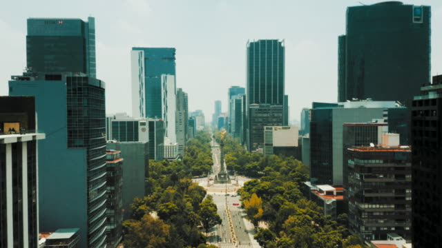 Aerial view of Mexico City. Paseo de la Reforma Aerial view of Mexico City. Paseo de la Reforma independence stock videos & royalty-free footage
