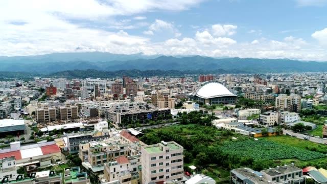 Aerial View of Miaoli City (Hakka City) move into the city center, Taiwan