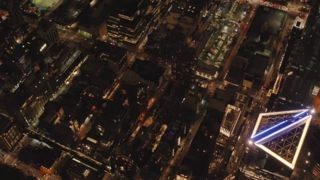 Aerial view of Midtown Manhattan at night 4K