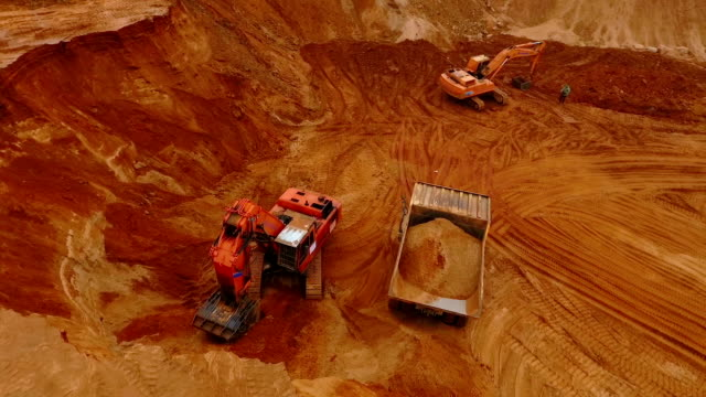 Aerial view of mining machinery working at sand quarry. Mining equipment video