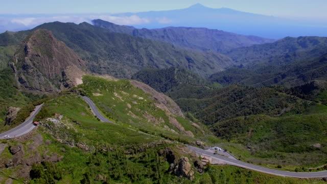 Aerial View of Mirador de los Roques - Volcano Roque de Ojila, Roque de la Zarcita, in the Garajonay National Park on Canary Islands La Gomera video