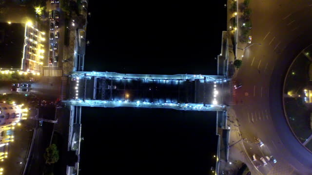 Aerial view of modern buildings and urban cityscape of tianjing at night,real time. video