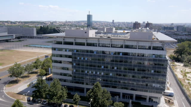 Aerial view of modern business buildings video