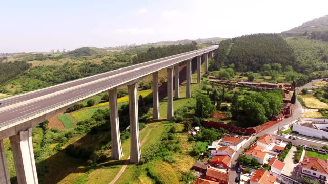 Aerial view of modern highway in Portugal video